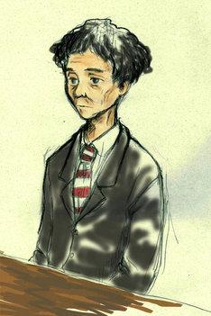 黒のスーツに赤白ボーダーのネクタイ姿で入廷した楳図。その表情はどこか物憂げだった。