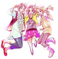 長沢智「日曜日は一緒に」告知イラスト。元気に飛び跳ねる3人がはじめた恋愛ゲームとは……!?