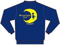 「月光条例」パーカー。ネイビーのボディに大きくプリントされた黄色い月が栄えるデザイン。