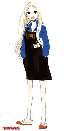いつものジャージと上履きスタイルにタワレコエプロンを着用した、ニノの等身大パネル。