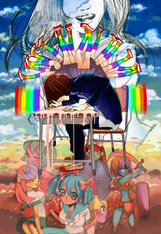中村光がテーマソング「ヒーロー」の世界観を描いたピンナップイラスト。 (C)中村光/集英社・週刊ヤングジャンプ