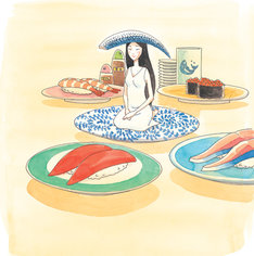 安田弘之の新連載「寿司ガール」カット。
