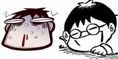 トークイベント「希有馬屋フリートーク#3」の告知カット。左から井上純弌、カラスヤサトシの自画像。