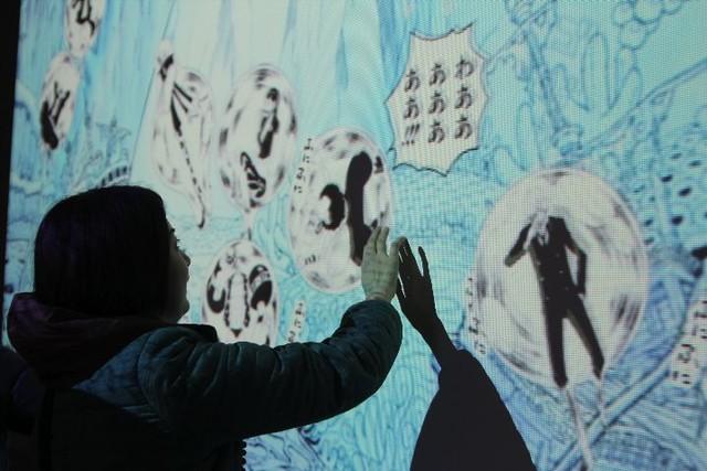 魚人島でのインタラクティブアート。コーティングされたルフィたちを触ると、ピンボールのように跳ねまわる仕組みだ。