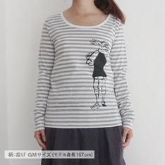 「ポップコーンキャッチ ボーダーTシャツ 投げ」のGirlsMサイズ。