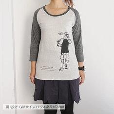 「ポップコーンキャッチ ラグランTシャツ 投げ」のオートミール。サイズはGirlsM。