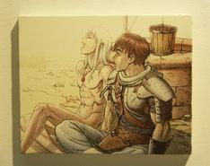 販売されているキャンバスパネル。映画では登場しなかった、ガッツとグリフィスの水浴びのエピソードを描いた貴重な1枚だ。
