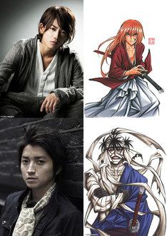 (上から)佐藤健(左)と彼が演じる緋村剣心(右)。藤原竜也(左)と彼が演じる志々雄真実(右)。