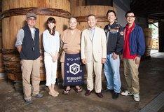 映画「あさひるばん」のキャスト。左から、やまさき十三、桐谷美玲、西田敏行、國村隼、板尾創路、山寺宏一。
