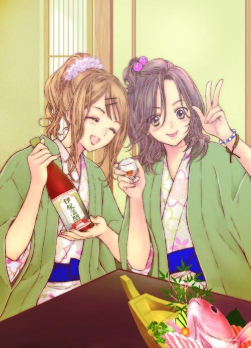 「酩酊女子~日本酒酩酊ガールズ~」より、佐倉汐のイラスト。