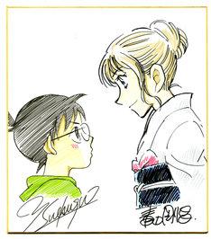 末次由紀によるコナンと、青山剛昌が描いた千早のイラスト。