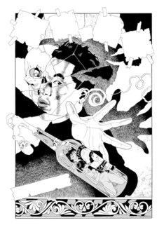 丸尾末広「瓶詰の地獄」扉絵より夢野久作のポートレート(『瓶詰の地獄』エンターブレイン、2012年)