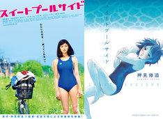 映画「スイートプールサイド」のポスター(左)と、押見修造「スイートプールサイド」の単行本(右)。