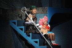 ミュージカル「美少女戦士セーラームーン ~Petite Etrangere~」より、セーラープルートとちびムーン。