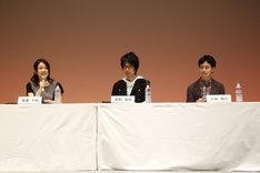 「暁のヨナ」のキャスト陣。(左から)ヨナ役の斎藤千和、ハク役の前野智昭、スウォン役の小林裕介。