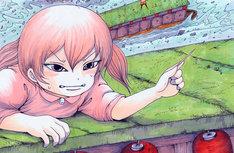 押切蓮介によるイラストの一部。少女が何と戦っているのかは、誌面にて確認を。