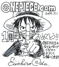 「ONE PIECE.com」1周年を記念した尾田栄一郎の色紙。(c)尾田栄一郎/集英社・フジテレビ・東映アニメーション