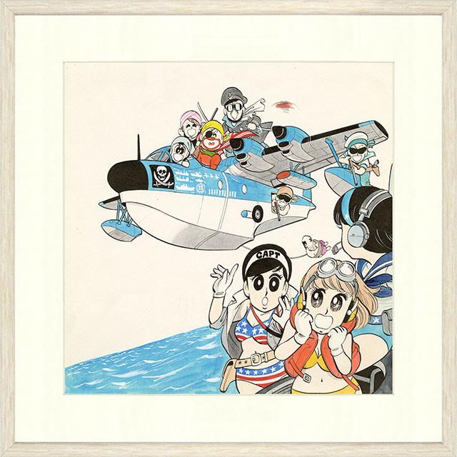 「マカロニほうれん荘」直筆サイン入り複製原画の額装イメージ。