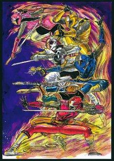 藤田和日郎が描き下ろした、「スーパー戦隊シリーズ 手裏剣戦隊ニンニンジャー Blu-ray COLLECTION 1」に付属するブックレットの表紙イラスト。