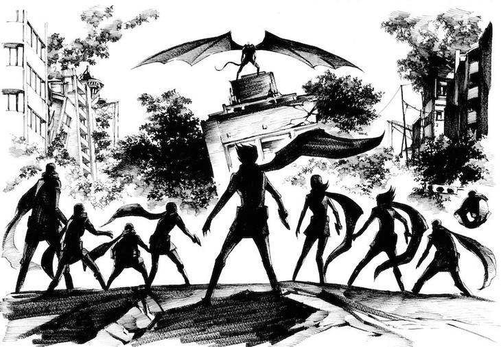 吉富昭仁が手がけたマンガ版「サイボーグ009VSデビルマン」のイラスト。 (c)石森プロ (c)永井豪/ダイナミック企画