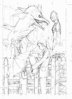 鶴田謙二による決定稿の下描き。完成イラストは誌面にて確認しよう。