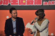 鳥取県出身のアダチケイジと下田麻美。
