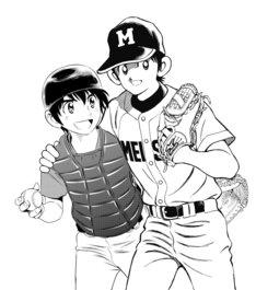 あだち充と満田拓也の合作イラスト。左から「MAJOR 2nd」の茂野大吾、「MIX」の立花投馬。
