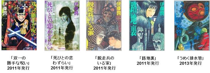 ドラマの題材となる伊藤潤二の作品の一部。