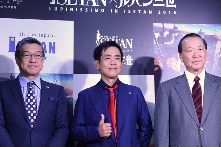 (左から)伊勢丹取締役社長の大西洋氏、栗田貫一、セガサミー会長の里見治氏。