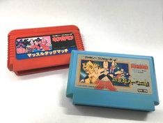 ファミリーマートコンピューターのゲーム「キン肉マン マッスルタッグマッチ」と「闘将!!拉麺男 炸裂超人一〇二芸」。