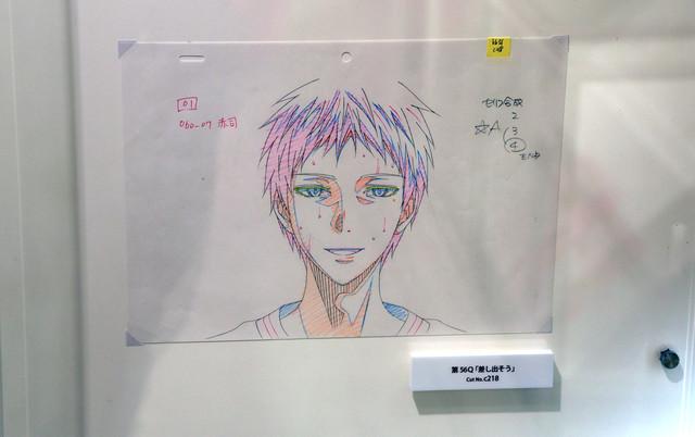 アニメ「黒子のバスケ」の原画展示の様子。