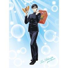 「坂本ですが?」アニメ描き下ろしイラスト。右手には4種の揚げ物を、左手は買い物カゴを持つ坂本の姿が描かれた。