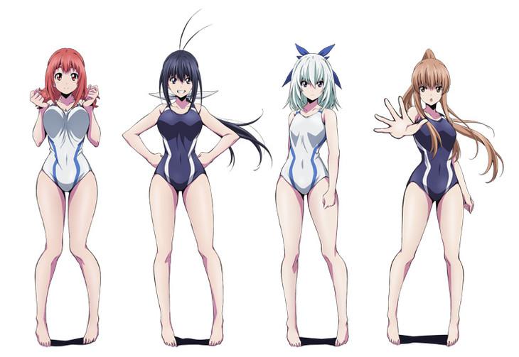 テレビアニメ「競女!!!!!!!!」の登場キャラクター。(左から)豊口のん、神無のぞみ、宮田さやか、青葉風音。