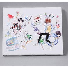 「天野明展」のビジュアルを使ったアートボード。