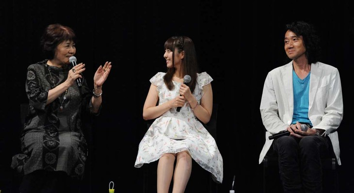 ドラマCD「長屋王残照記」発売記念イベントの様子。(左から)里中満智子、加藤英美里、三木眞一郎。
