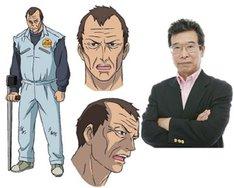 高岡拳太郎の設定画(左)と、田中亮一。