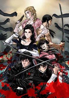 目黒三吉が描いた「こころ オブ・ザ・デッド ~スーパー漱石大戦~」と「高慢と偏見とゾンビ」のコラボイラスト。