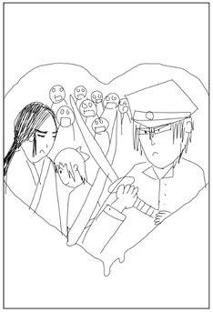 架神恭介が描いた「こころ オブ・ザ・デッド~スーパー漱石大戦~」1巻のカバーイラスト。