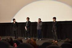 ご当地上映会の様子。左から中村悠一、安元洋貴、中森良治、上田耕行プロデューサー。