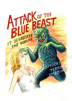 諸星大二郎が描いた「青い野獣」の妄想ポスター。