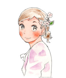 雁須磨子「かよちゃんの荷物」カット