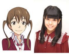 笹島迅子と、声を演じる松田颯水。