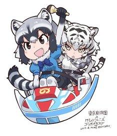 吉崎観音が描き下ろした「アストロファイター」に乗るアライグマとホワイトタイガーのイラスト。