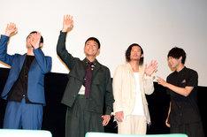 映画「ダブルミンツ」初日舞台挨拶の様子。