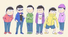 ジャージ姿の6つ子。