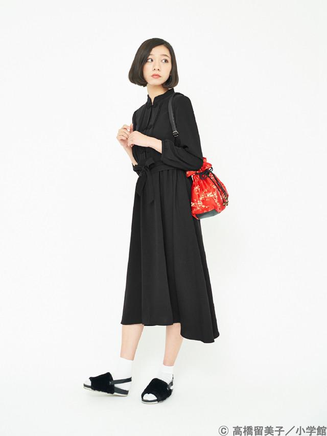 「らんま1/2 早乙女乱馬イメージワンピース」ブラックの着用イメージ。