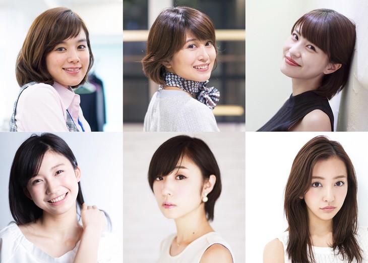 上段左から筧美和子、佐津川愛美、岸明日香。下段左から小倉優香、MEGUMI、板野友美。