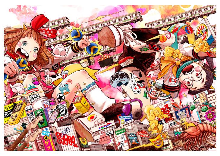 浅野いにおによる巨大イラスト。