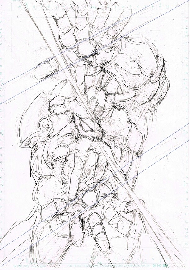 村田雄介描き下ろしB3ポスターのラフスケッチ