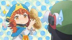 アニメ「ハクメイとミコチ」カット。彼女たちにとっては、ピーナッツが顔と同じ大きさ。